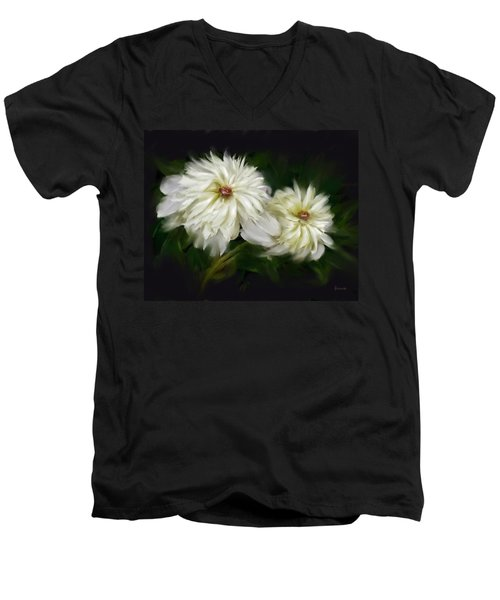 Men's V-Neck T-Shirt featuring the painting Withering Peony by Bonnie Willis