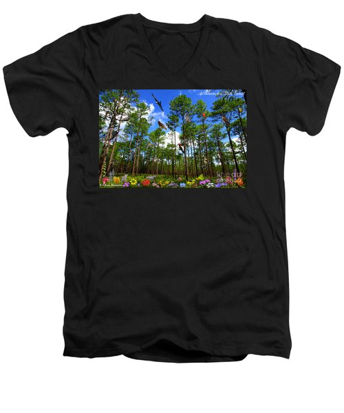 Withlacoochee State Forest Nature Collage Men's V-Neck T-Shirt