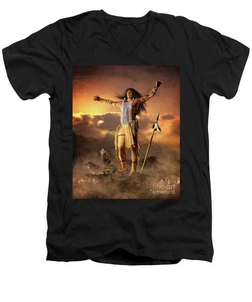 Wolf Clan Men's V-Neck T-Shirt by Shanina Conway