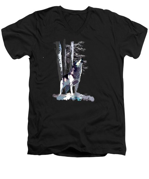 Wolf  Howling Memory Men's V-Neck T-Shirt by Regina Femrite