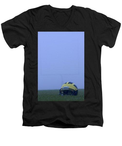 Wolverine Helmet On The Field In Heavy Fog Men's V-Neck T-Shirt