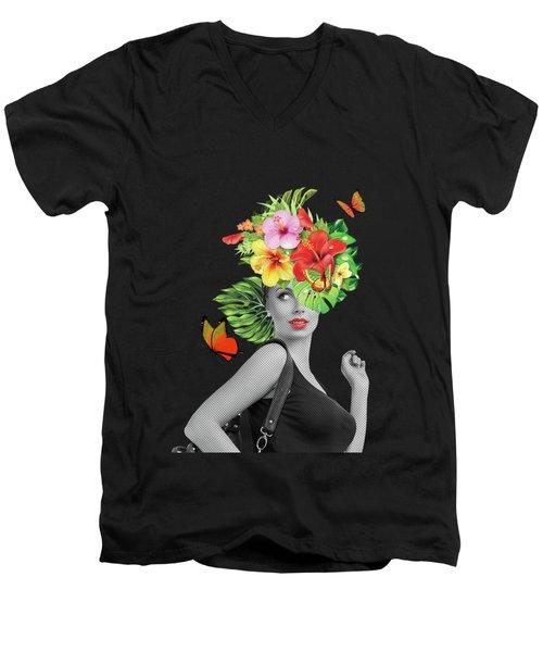 Woman Floral  Men's V-Neck T-Shirt by Mark Ashkenazi