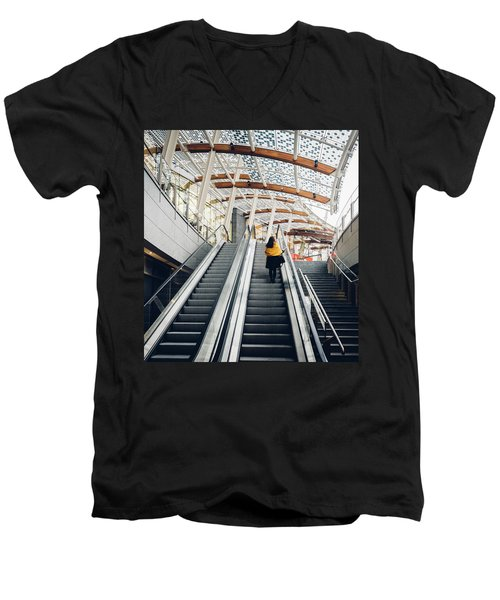 Woman Going Up Escalator In Milan, Italy Men's V-Neck T-Shirt
