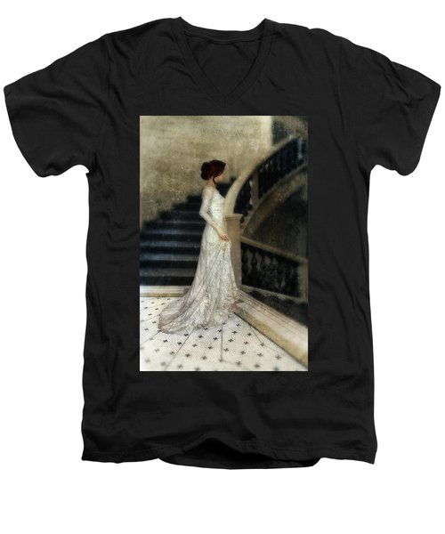 Woman In Lace Gown On Staircase Men's V-Neck T-Shirt by Jill Battaglia