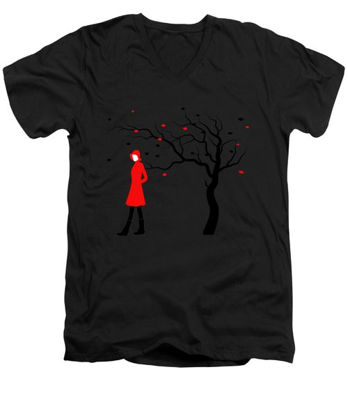 Woman In Red Hat And Trench Coat Walking In Blustery Autumn Rain Men's V-Neck T-Shirt