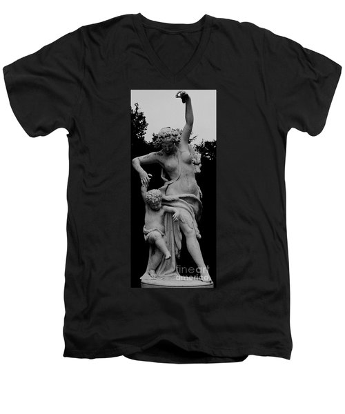 Men's V-Neck T-Shirt featuring the painting Woman Statue by Eric  Schiabor