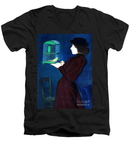 Woman With A Bird Cage  Detail Men's V-Neck T-Shirt