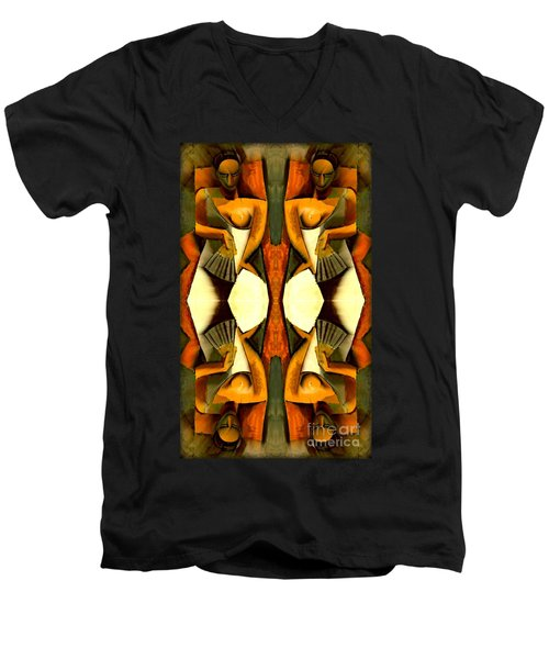 Woman With A Fan X4 Men's V-Neck T-Shirt