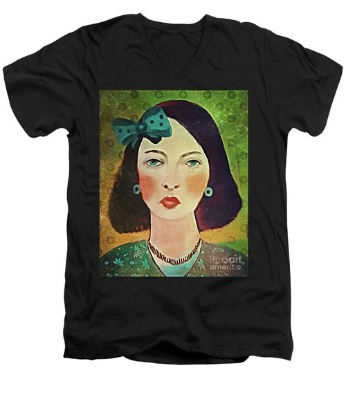 Men's V-Neck T-Shirt featuring the digital art Woman With Blue Hair Bow by Alexis Rotella