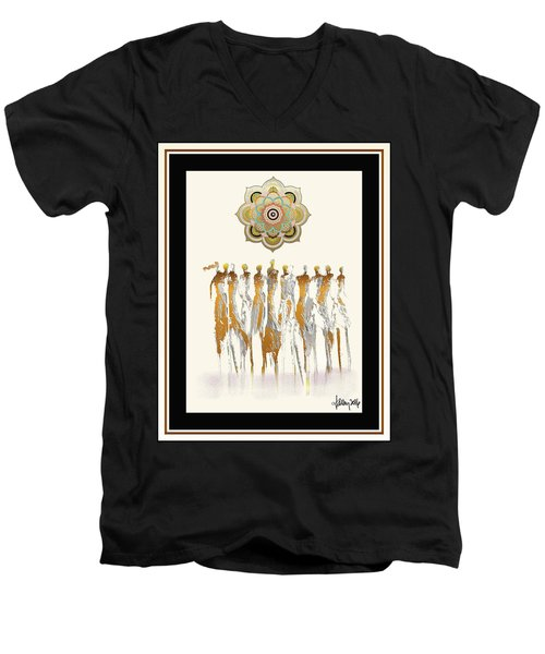 Women Chanting Mandala Men's V-Neck T-Shirt