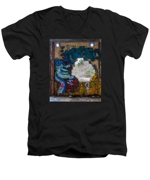 Wompatuck Graffiti Man Men's V-Neck T-Shirt by Brian MacLean