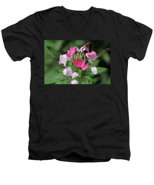 Men's V-Neck T-Shirt featuring the photograph Wonders Of Cleome by Deborah  Crew-Johnson