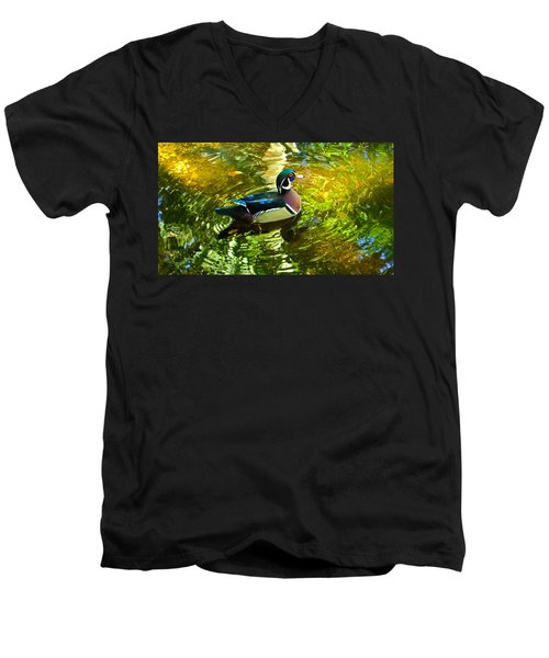 Wood Duck In Lights Men's V-Neck T-Shirt by Judy Wanamaker