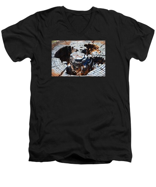 Men's V-Neck T-Shirt featuring the photograph Wood World by Steed Edwards