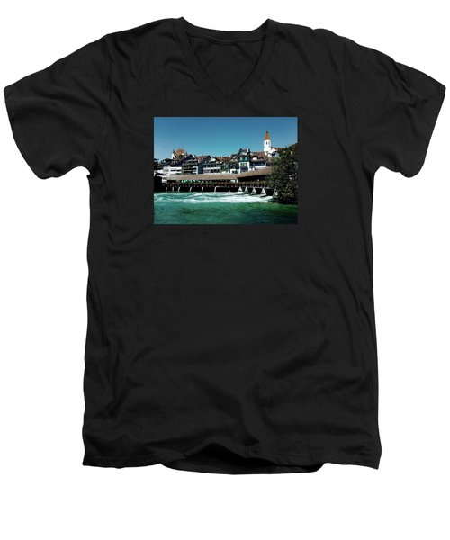 Men's V-Neck T-Shirt featuring the photograph Wooden Bridge by Mimulux patricia no No