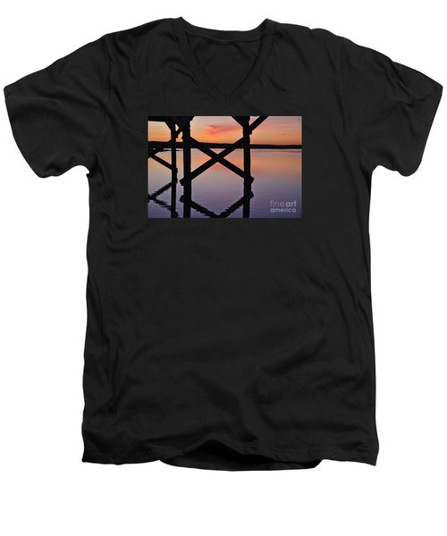 Wooden Bridge Silhouette At Dusk Men's V-Neck T-Shirt