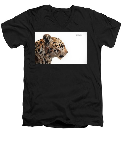 Men's V-Neck T-Shirt featuring the photograph Wooden Panther by Stwayne Keubrick