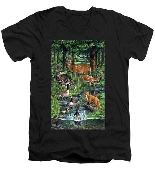 Woodland Men's V-Neck T-Shirt