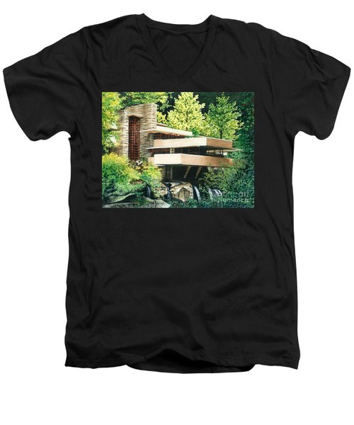 Fallingwater-a Woodland Retreat By Frank Lloyd Wright Men's V-Neck T-Shirt by Barbara Jewell