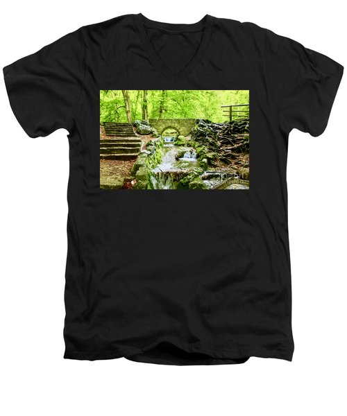 Woodland Steps And Stream Men's V-Neck T-Shirt