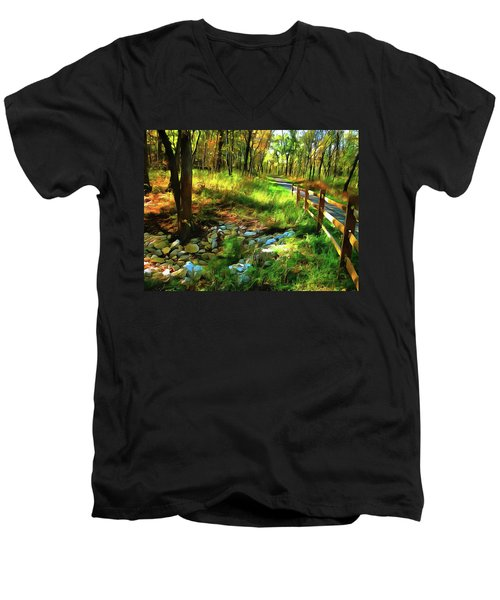 Woodland Symphony Men's V-Neck T-Shirt by Cedric Hampton