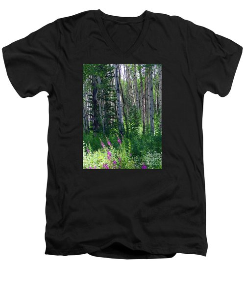 Woods Men's V-Neck T-Shirt by Beth Saffer