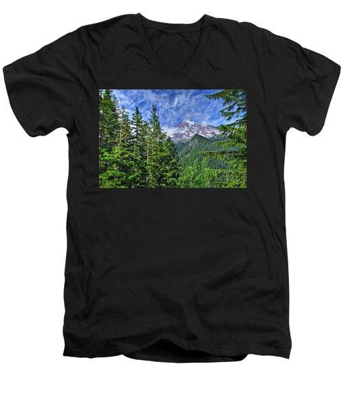 Woods Surrounding Mt. Rainier Men's V-Neck T-Shirt