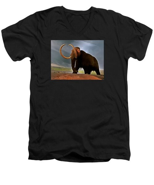 Woolly Mammoth Men's V-Neck T-Shirt by Brian Chase