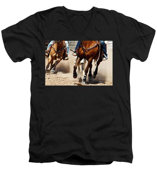 Working Men's V-Neck T-Shirt by Kathy McClure
