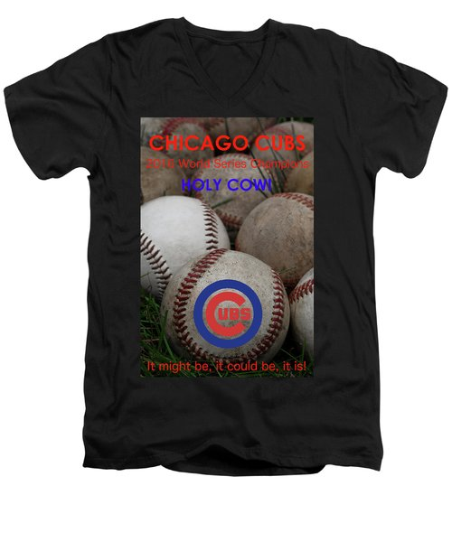 World Series Champions - Chicago Cubs Men's V-Neck T-Shirt by David Patterson