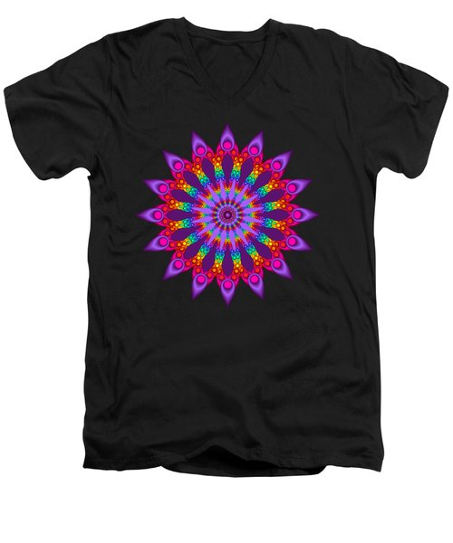 Woven Rainbow Fractal Flower Men's V-Neck T-Shirt