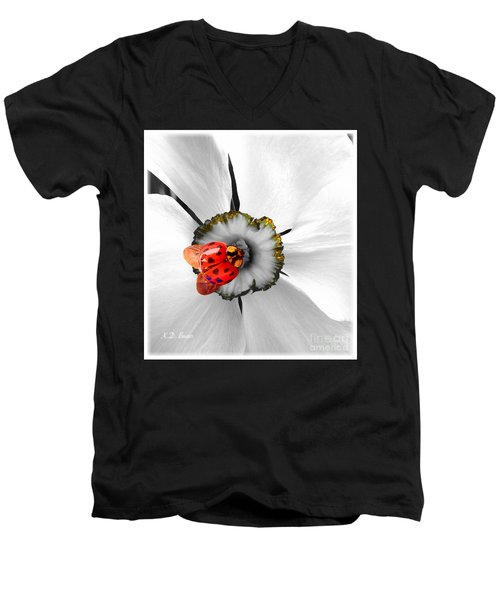 Wow Ladybug Is Hot Today Men's V-Neck T-Shirt by Kimberlee Baxter