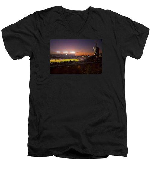 Wrigley Field At Dusk Men's V-Neck T-Shirt
