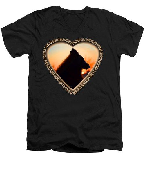 Wuffstar Happiness Is A Long Haired German Shepherd Heart Men's V-Neck T-Shirt