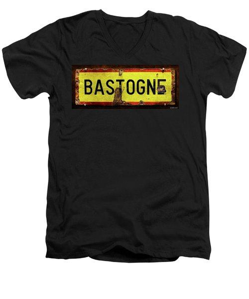Wwii Bastogne Town Sign Men's V-Neck T-Shirt