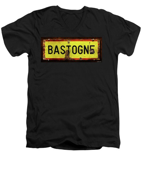 Wwii Bastogne Town Sign Men's V-Neck T-Shirt