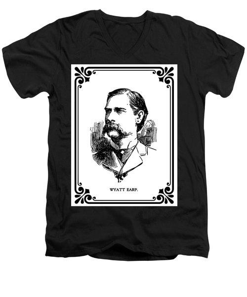 Men's V-Neck T-Shirt featuring the mixed media Wyatt Earp Newspaper Portrait  1896 by Daniel Hagerman