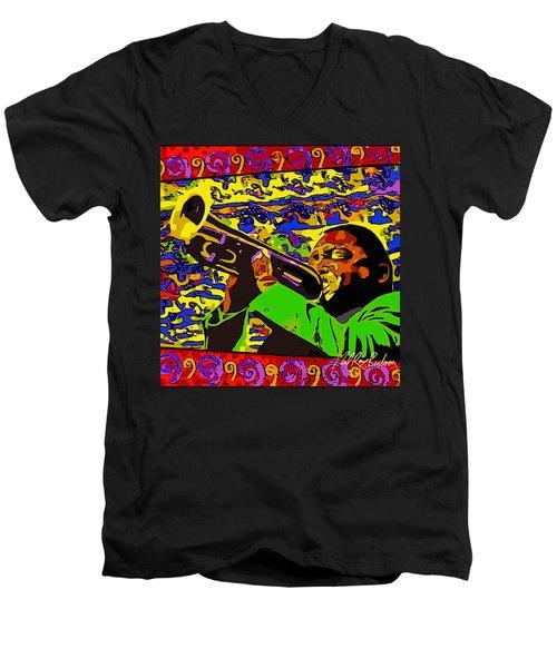 Wynton Marsalis Plays Louis Armstrong Rework Men's V-Neck T-Shirt