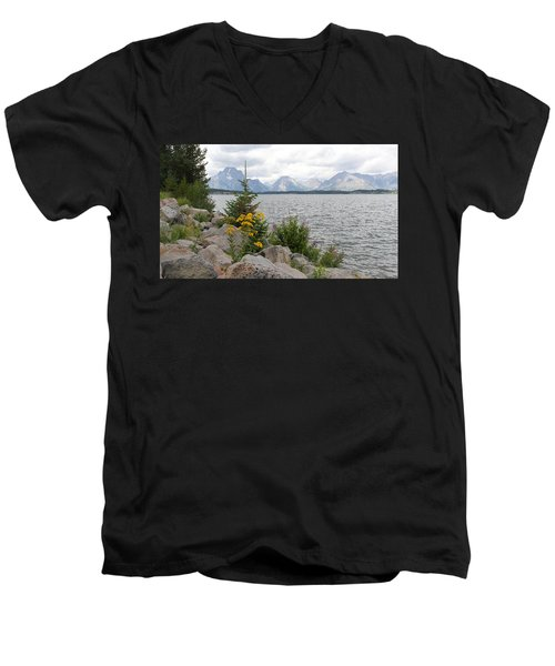 Wyoming Mountains Men's V-Neck T-Shirt