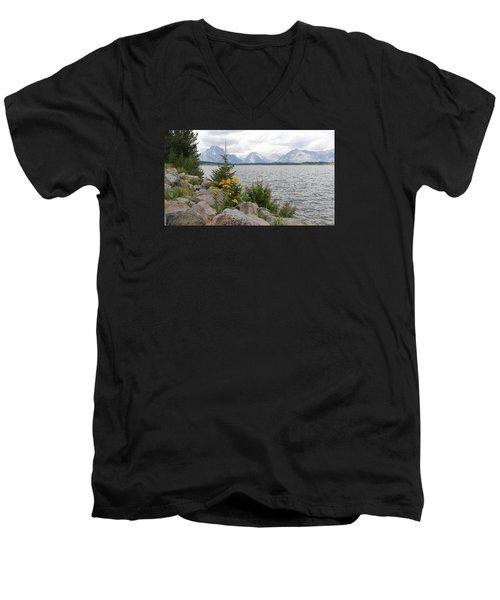 Wyoming Mountains Men's V-Neck T-Shirt