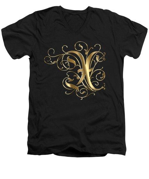 X Golden Ornamental Letter Typography Men's V-Neck T-Shirt