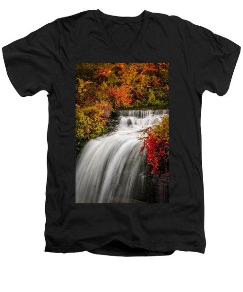 Fall At Minnehaha Falls Men's V-Neck T-Shirt