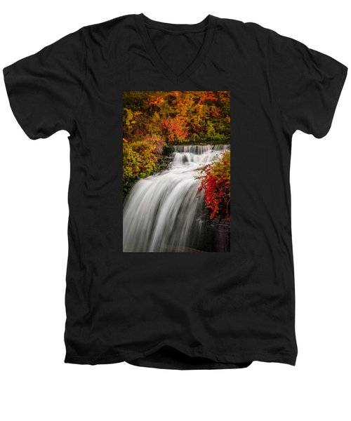 Fall At Minnehaha Falls Men's V-Neck T-Shirt