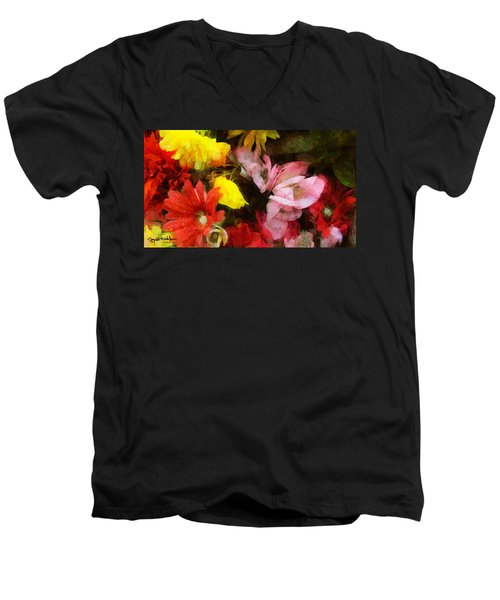 Xtreme Floral Nineteen Powerful In Pink Men's V-Neck T-Shirt