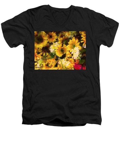Hot Pink Hiding Xtreme Floral 21 Men's V-Neck T-Shirt