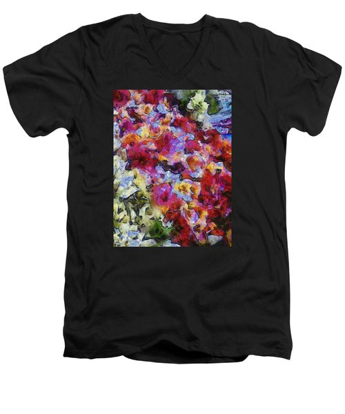 Men's V-Neck T-Shirt featuring the photograph Xtreme Floral Five Cascade by Spyder Webb