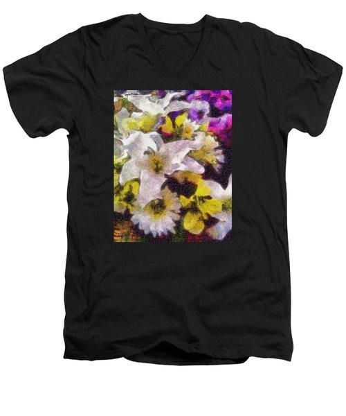 Xtreme Floral Six The White Star Men's V-Neck T-Shirt