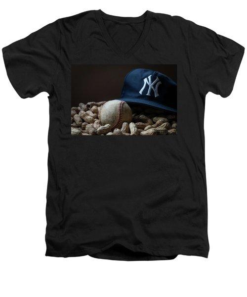 Yankee Cap Baseball And Peanuts Men's V-Neck T-Shirt