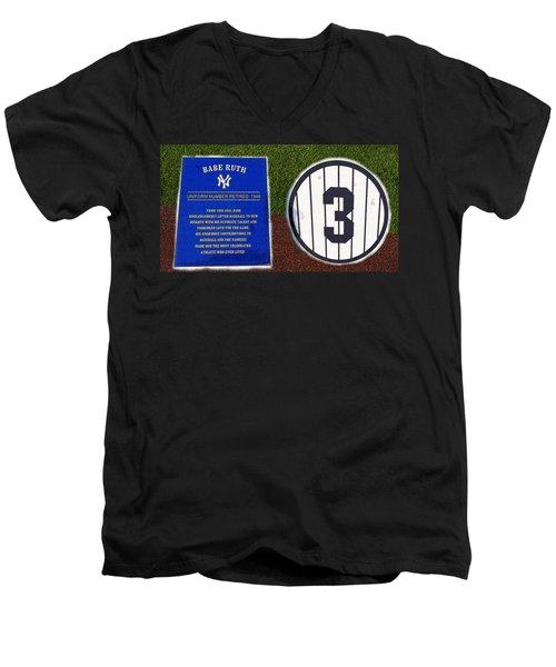 Yankee Legends Number 3 Men's V-Neck T-Shirt by David Lee Thompson