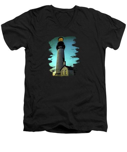 Yaquina Head Lighthouse At Sunset Men's V-Neck T-Shirt